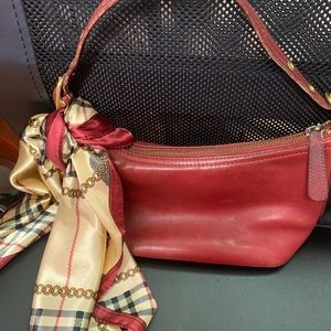 Red Coach Small Bag w scarf